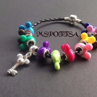 Colorful Disney Mickey Mouse Leather Charm Bracelet with Charms Pendants Minnie