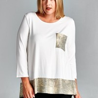 Plus Size Long Sleeve Basic Solid Top With Golden Hem