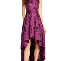 Alyce 60166 Purple Print High-Low Dress