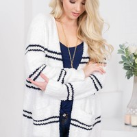 Mabel Fuzzy Striped Cardigan | White