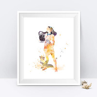 Pocahontas Print, Princess Poster, Watercolor, Art Print, Disney, Nursery Wall decor, Disney Princess, Gift, Digital Download