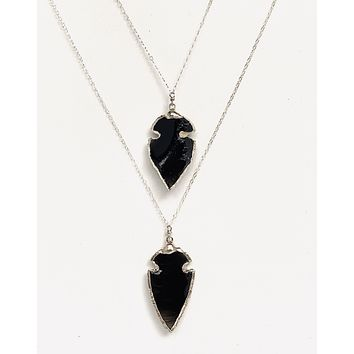 Black tourmaline double arrowhead necklace