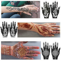 2016 New 1Pcs India Henna Temporary Tattoo Stencils For Hand Leg Arm Feet Body Art Template Body Decal For Wedding NB137