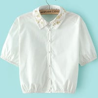 White Lapel Embroidered Bead Crop Blouse - Sheinside.com