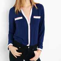 Original Fit Navy Double Piped Portofino Shirt from EXPRESS