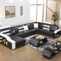 2016 Sale Sofas For Living Room Armchair Chaise Home Furniture European Style Genuine Leather Sofa For Living Room Set U Shape