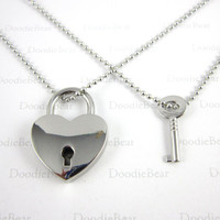 Couples Necklace - Silver Heart Locket Key - Real Locket - Couples Jewelry - Friendship - Anniversary Gift - Valentine's Day - Set of 2