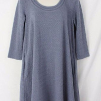 Anthropologie Lilka M size Blue Gray Trapeze Swing Dress Textured w Pockets
