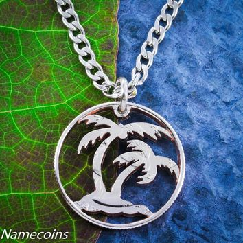 Palm Tree Necklace, Beach Jewelry, hand cut coin by Namecoins