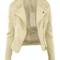 Gracious Girl Women's Diana Faux Leather Biker CropJacket Cream 6