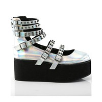 Demonia Holographic Silver Strappy Mary Jane Rave Shoes