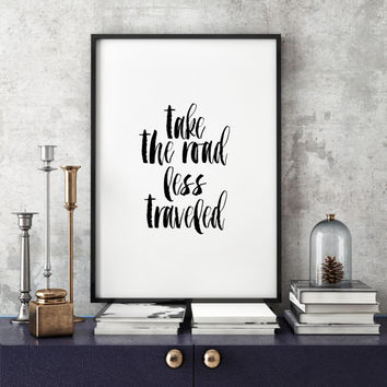 """PRINTABLE ART Travel Quote World Map Poster """"Take the Road Less Traveled"""" Scripture Quote Graduation Gift Motivational Travel Art Print"""