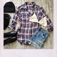 Own It Oversized Flannel- Pink