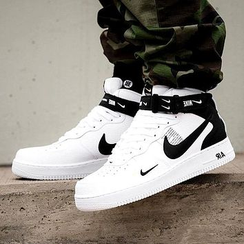 Vsgirlss NIKE AIR FORCE 1 MID 07 Tide brand simple version OW high-top sports shoes White