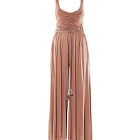 Sleeveless Ruched Pleated Jumpsuit with Plait Drawstring Details