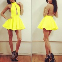 Casual Yellow Plain Ruffle Backless Sleeveless Mini Dress