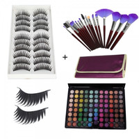 88 Color Matte Shimmer Eyeshadow Palette + 10 Pair Long Thick False Eyelashes + 16pcs Makeup Brush Set with Bag Purple