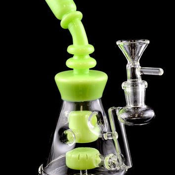Small Stemless GoG Water Pipe with Colored Accents and Showerhead Perc - WP1212