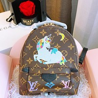 LV Palm Springs Mini Graffiti Backpack  Unicorn Print School Bag Coffee LV Print