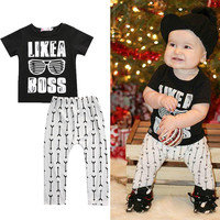 Children Baby Girl Boy Clothes Sets Cotton Casual Newborn Tops T-shirt Letter Black Pants White Outfits Set Clothing Tracksuit
