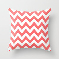Chevron Coral Throw Pillow by Lucy Helena