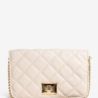 Quilted Lock Crossbody Bag