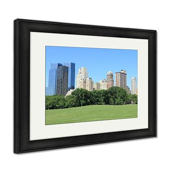 Framed Print, Central Park And Manhattan Skyline At Spring Time New York City