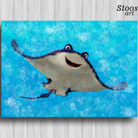 mr ray finding nemo print disney wall art nursery watercolor finding dory nautical art print