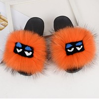 FENDI Fur Women Fashion Slipper Flats Shoes Orange
