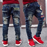 New Year's gift , kids ripped jeans, children wear fashionable style and high quality Boy's jeans Suitable for: 3-14 years