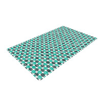 "Michelle Drew ""Distressed Circles"" Teal Aqua Woven Area Rug"