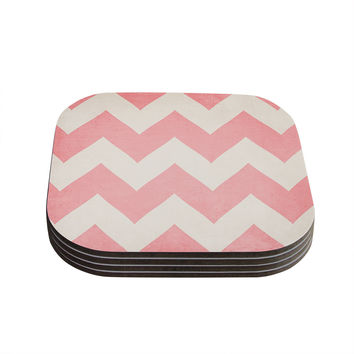 "Catherine McDonald ""Sweet Kisses"" Pink Chevron Coasters (Set of 4)"