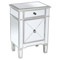 Sullivan Mirrored Accent Table, Silver, Nightstands