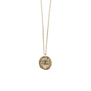 Evil Eye Turquoise Coin Necklace