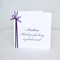 Bridesmaid Thank You Card  -  Custom Bridal Party Cards - SET OF 3 CARDS