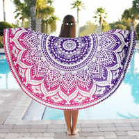 Round Mandala Tapestry Wall Hanging Throw Towel Beach Yoga Mat Decor Circle Beach Towel Serviette De Plage Dec02