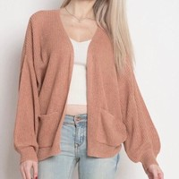 final sale - dreamers - lightweight open cardigan with balloon sleeves - dust coral