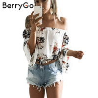 BerryGo Floral print chiffon blouse women tops Off shoulder halter cool long sleeve female blouse shirt Sexy loose white blusas