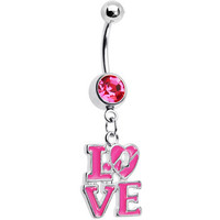 Pink Gem Dangling Love Belly Ring   Body Candy Body Jewelry