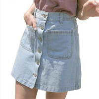 New 2017 Women Summer Denim Skirts Fashion High Waist Blue Skirts Plus Size Mini Jeans Skirt High Quality Cheap Clothes In China