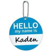 Kaden Hello My Name Is Round ID Card Luggage Tag