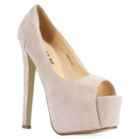 82G Womens Nude Faux Suede Peep Toe Ladies Platform High Stiletto Heel Pumps Shoes Size 7 US