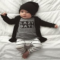 Autumn baby boy clothes baby clothing set cotton long-sleeved Letter T-shirt pants born baby clothing set
