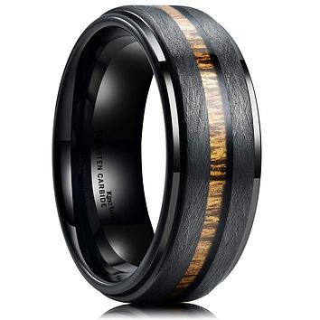 King Will Nature 8mm Black Tungsten Carbide Wedding Band Real Wood Inlay Matte Brushed Finish 7