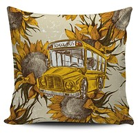 School Bus Sketch Pillow Cover