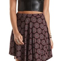 Curved Hem Medallion Print Skirt by Charlotte Russe