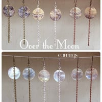 Over The Moon mother of pearl earrings Hawaiian seashell and chain   made to order customizable your chain choice\