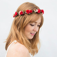 Red Rose Flower Crown - Valentines Day, Floral Crown, Flower Girl, Red and White, Holiday Hair Accessory, Children, July 4th, Bright Red,