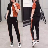 """Adidas"" Women Personality Casual Fashion Multicolor Short Sleeve Trousers Set Two-Piece Sportswear"