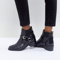 Carvela Saddle Leather Buckle Flat Ankle Boots at asos.com